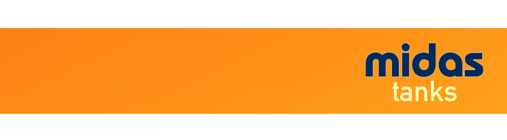 Midas Oil Tanks logo on orange background