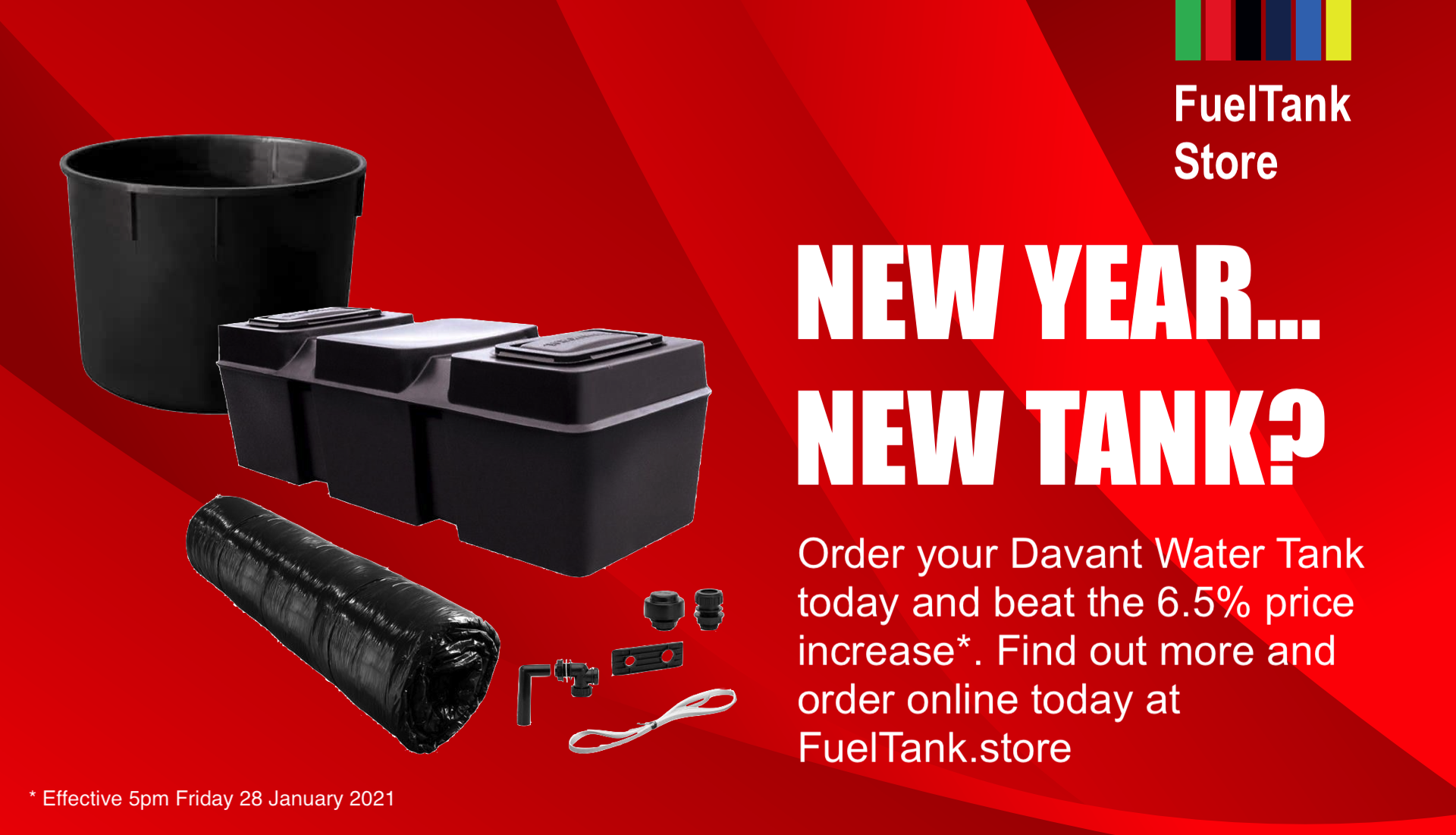 Davant Attic Tank on a red background with Fuel Tank Store logo. Accompanying text encourages customers to buy before 28 January 2021, due to upcoming price increase.
