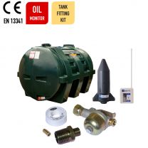 Carbery 1350HP Horizontal Plus Single Skin Plastic Heating Oil Tank with Apollo Ultrasonic Oil Monitor and Oil Tank Fitting Kit