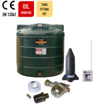Carbery 1350VP Vertical Plus Single Skin Plastic Heating Oil Tank with Apollo Ultrasonic Oil Tank Contents Gauge and Bottom Outlet Oil Tank Fitting Kit.