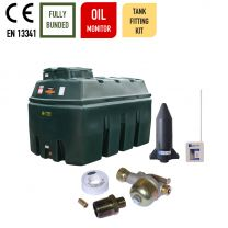 Carbery 2500HBU Horizontal Bunded Ultra Heating Oil Tank with Apollo Ultrasonic Bottom Outlet Oil Tank Fitting Kit