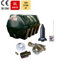 Carbery 2500HP Horizontal Plus Single Skin Plastic Heating Oil Tank with Apollo Ultrasonic Oil Monitor and Bottom Outlet Oil Tank Fitting Kit