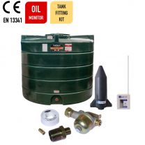 Carbery 2500VP Vertical Plus Single Skin Heating Oil Tank with Apollo Ultrasonic Oil Tank Monitor and Bottom Outlet Oil Tank Fitting Kit.