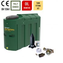 Harlequin 1000ITE Slimline Bunded Heating Oil Tank with Apollo Ultrasonic Oil Monitor and Bottom Outlet Oil Tank Fitting Kit