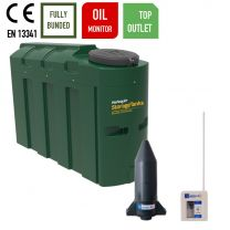 Harlequin 1000ITT Slimline Bunded Top Outlet Plastic Heating Oil Tank with Apollo Ultrasonic Oil Monitor