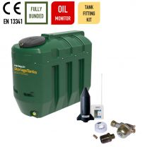 Harlequin 1100ITE Slimline Bunded Heating Oil Tank with Apollo Ultrasonic Oil Tank Fitting Kit