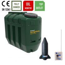 Harlequin 1100ITT Top Outlet Bunded Slimline Heating Oil Tank with Apollo Ultrasonic Oil Tank Monitor
