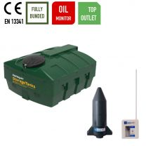 Harlequin 1200ITT Low Profile Top Outlet Plastic Bunded Heating Oil Tank with Apollo Oil Monitor
