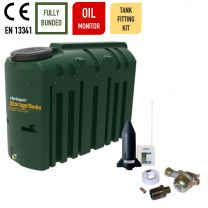 Harlequin 1225ITE Slimline Bunded Plastic Heating Oil Tank with Apollo Ultrasonic Oil Monitor and Harlequin Bottom Outlet Oil Tank Fitting Kit