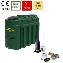 Harlequin 1300ITE Slimline Bunded Plastic Heating Oil Tank with Apollo Ultrasonic Oil Monitor and Harlequin Bottom Outlet Oil Tank Fitting Kit
