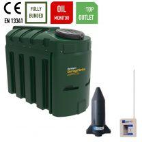 Harlequin 1300ITT Slimline Top Outlet Bunded Plastic Heating Oil Tank with Apollo Ultrasonic Oil Monitor