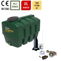 Harlequin 1400ITE Horizontal Bunded Plastic Heating Oil Tank with Apollo Ultrasonic Oil Monitor and Harlequin Bottom Outlet Oil Tank Fitting Kit