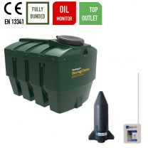 Harlequin 1400ITT Horizontal Bunded Top Outlet Plastic Heating Oil Tank with Apollo Ultrasonic Oil Tank Monitor
