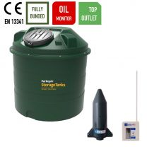 Harlequin 1450ITT Vertical Top Outlet Bunded Plastic Heating Oil Tank with Apollo Ultrasonic Oil Tank Monitor