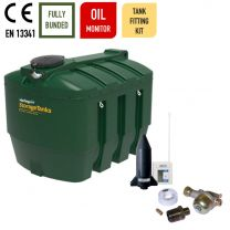 Harlequin 3500ITE Horizontal Bunded Plastic Heating Oil Tank with Apollo Ultrasonic Oil Monitor and Harlequin Bottom Outlet Oil Tank Fitting Kit