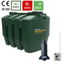Harlequin 3500ITT Horizontal Bunded Top Outlet Plastic Bunded Heating Oil Tank with Apollo Ultrasonic Oil Monitor