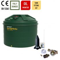 Harlequin 5400ITE Vertical Bunded Plastic Heating Oil Tank with Apollo Oil Monitor and Oil Tank Fitting Kit
