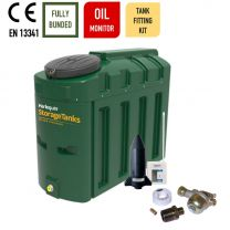 Harlequin 650ITE Slimline Bunded Heating Oil Tank with Apollo Ultrasonic Oil Monitor and Bottom Outlet Oil Tank Fitting Kit