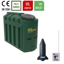 Harlequin 650ITT Top Outlet Slimline Bunded Heating Oil Tank with Apollo Ultrasonic Oil Tank Monitor