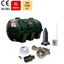 Carbery 1150HP Horizontal Plastic Single Skin Heating Oil Tank with Apollo Ultrasonic Oil Monitor and Carbery Oil Tank Fitting Kit.