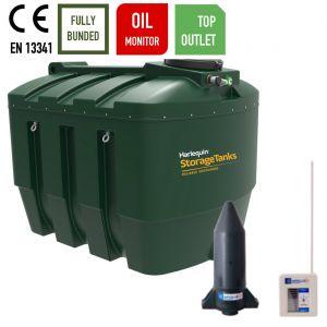3,500 litres Bunded Oil Tank - Harlequin 3500ITT Top Outlet Horizontal